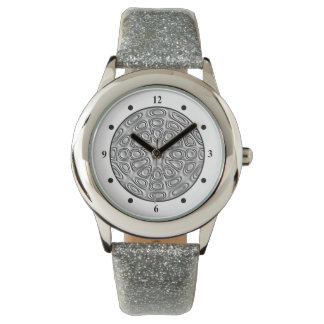 Embossed Look Silver Gray Metal Sand Flower Watches