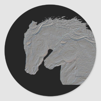 Embossed Look Silver Horses Black Background Classic Round Sticker