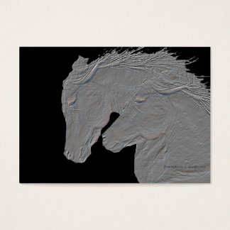 Embossed Look Silver Horses Business Card