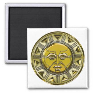 Embossed Mayan Metallic Sun Square Magnet