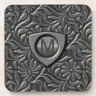Embossed Metal Shield Monogram ID139 Coaster