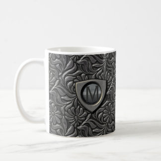 Embossed Metal Shield Monogram ID139 Coffee Mug