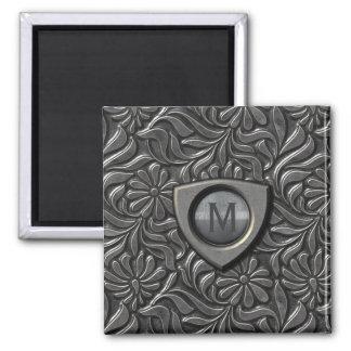 Embossed Metal Shield Monogram ID139 Magnet