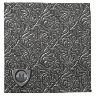 Embossed Metal Shield Monogram ID139 Napkin