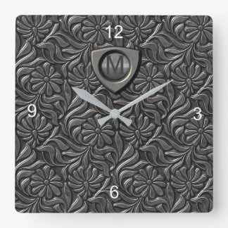 Embossed Metal Shield Monogram ID139 Square Wall Clock