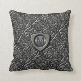 Embossed Metal Shield Monogram ID139 Throw Pillow