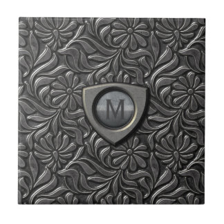 Embossed Metal Shield Monogram ID139 Tile