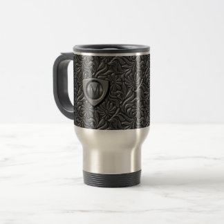 Embossed Metal Shield Monogram ID139 Travel Mug