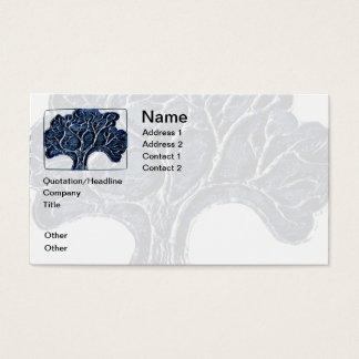 Embossed Metal Tree - Blue Business Card