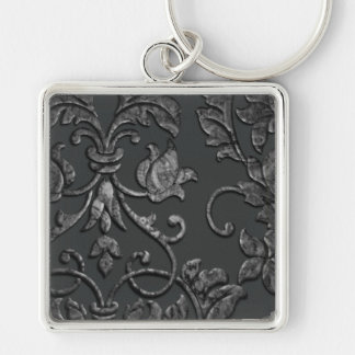 Embossed Metallic Damask, Pewter Keychain