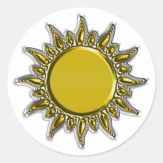 Embossed Metallic Gold Radiant Sun Round Sticker