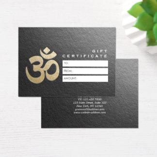 Embossed OM Sign YOGA Instructor Gift Certificate