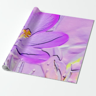 Embossed Purple Crocus Gift Wrapping Paper