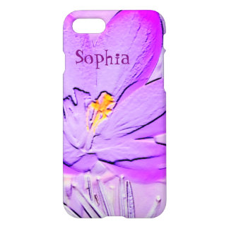 Embossed Purple Crocus Personalized iPhone 7 Case