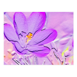 Embossed Purple Crocus Postcard