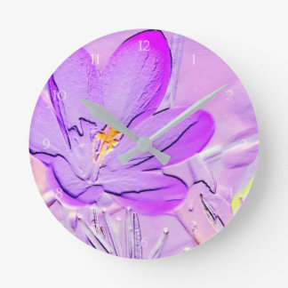 Embossed Purple Crocus Wall Clock