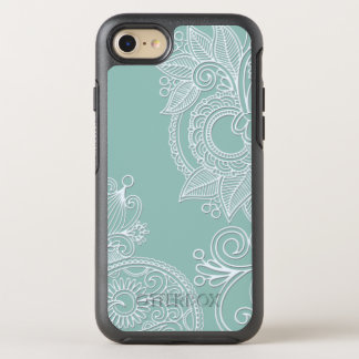 Embossed Style White Paisley on Mint OtterBox Symmetry iPhone 7 Case
