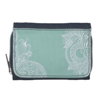 Embossed White and Mint Paisley Wallet