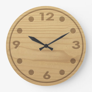 Embossed Wood Large Clock