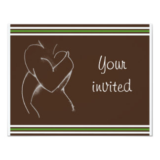 """Embrace (baby shower) brown & green 4.25"""" x 5.5"""" invitation card"""