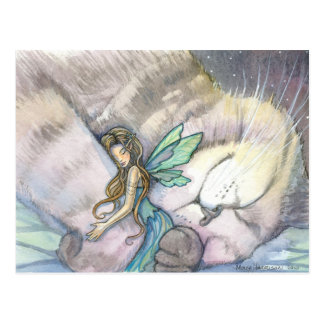 Embrace Cat and Fairy Postcard