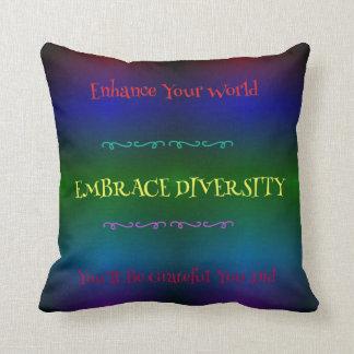 """Embrace Diversity"" LGBT Rainbow Pattern Throw Pillow"
