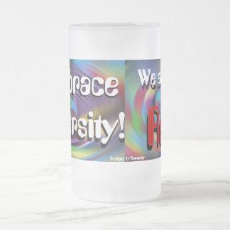 Embrace Diversity Mug! 16 Oz Frosted Glass Beer Mug