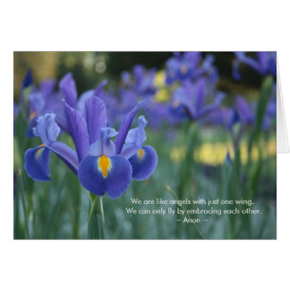 Embrace Each Other Purple Iris Greeting Card