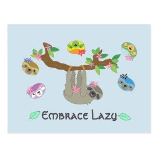 Embrace Lazy Sloths- Postcard