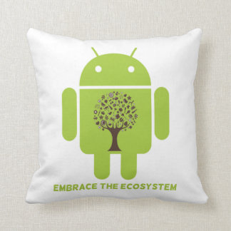 Embrace The Ecosystem (Bug Droid Brown Tree) Throw Pillow