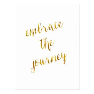 Embrace The Journey Quote Gold Faux Foil Courage Postcard