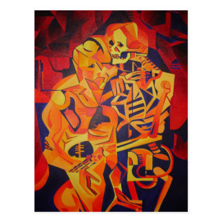 Embracing Death at Halloween Postcard