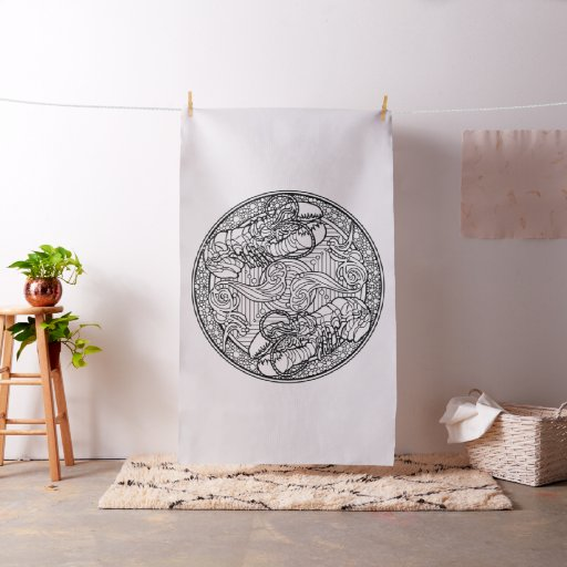 Embroider Your Own Lobsters Mandala Fabric