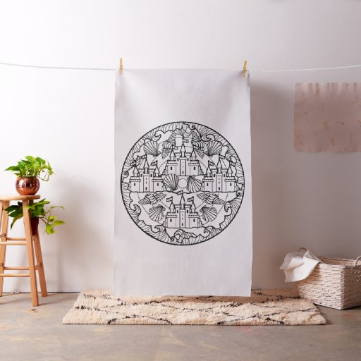Embroider Your Own sandcastle Mandala Fabric