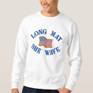 Embroidered American Flag on Sweatshirt