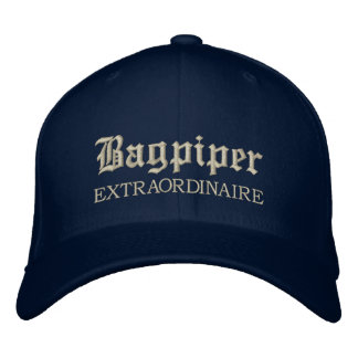 Embroidered Bagpiper Extraordinaire Music Cap Embroidered Hat