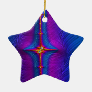 Embroidered Baton Fractal Ceramic Ornament