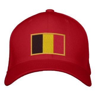 Embroidered Belgian Flag on Cap Embroidered Baseball Cap