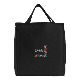 Embroidered Bride's Tote Bag With Floral Border