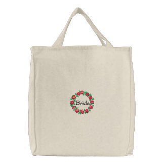 Embroidered Bride's Tote Bag With Flower Ring