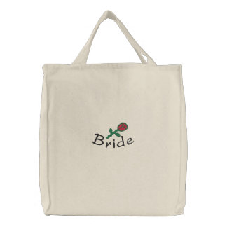 Embroidered Bride's Tote Bag With Rose Bud