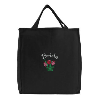 Embroidered Bride's Tote Bag With Tulips