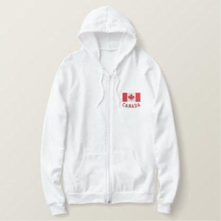 Embroidered Canadian flag zip up hoodie