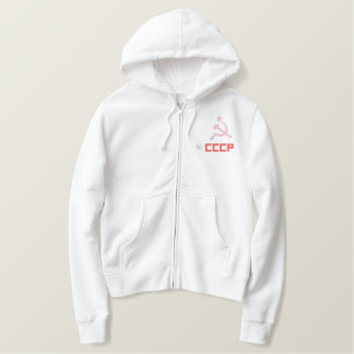 Embroidered CCCP Women Zip Hoodie