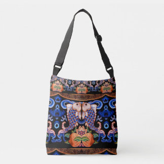 Embroidered Chinese Fish Design Crossbody Bag