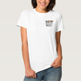 Embroidered Colonial Mom's Member T-Shirt in White Embroidered Polo Shirts