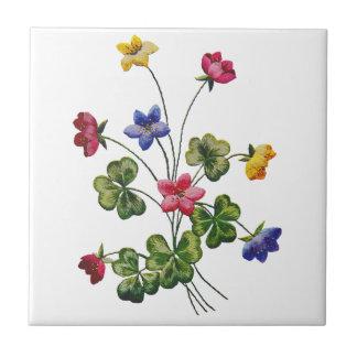 Embroidered Colorful Wood Sorrel Tile