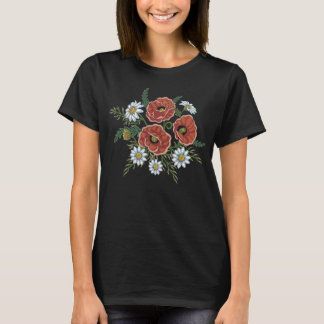 Embroidered Daisy and Poppy Flowers T-Shirt