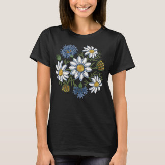 Embroidered Daisy Flowers and Cornflowers T-Shirt