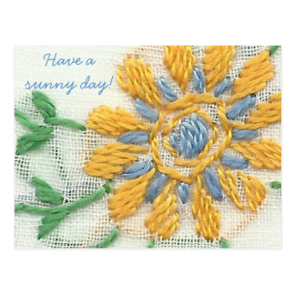 Embroidered Daisy Postcard